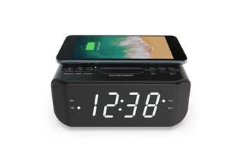 Lenoxx CRW25 10W Wireless Qi Phone Charger w/Alarm Clock/Snooze/FM Radio Black
