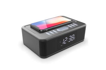 Lenoxx 2in1 10W Wireless Fast Charging Bluetooth/FM Radio Alarm Clock w/ USB/AUX