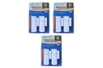 3x 2pc Sansai Window/Door Battery Siren Alarm Trigger Alert Home Security Safety