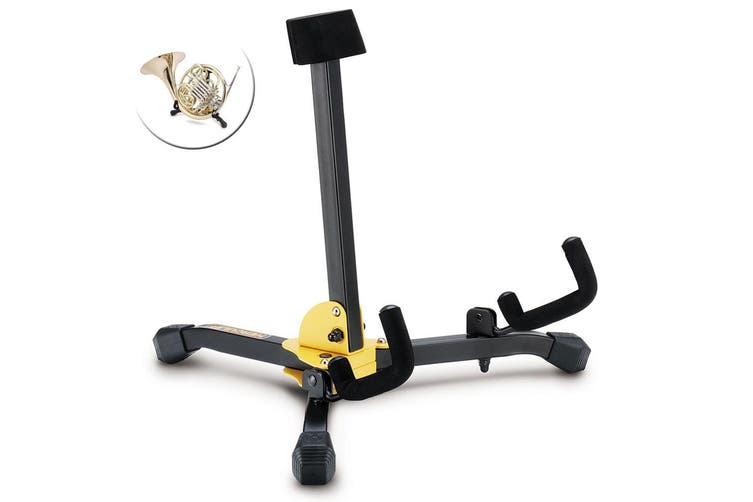 Hercules Foldable Musical Instrument Stand Holder w/ Bag for French Horn Black