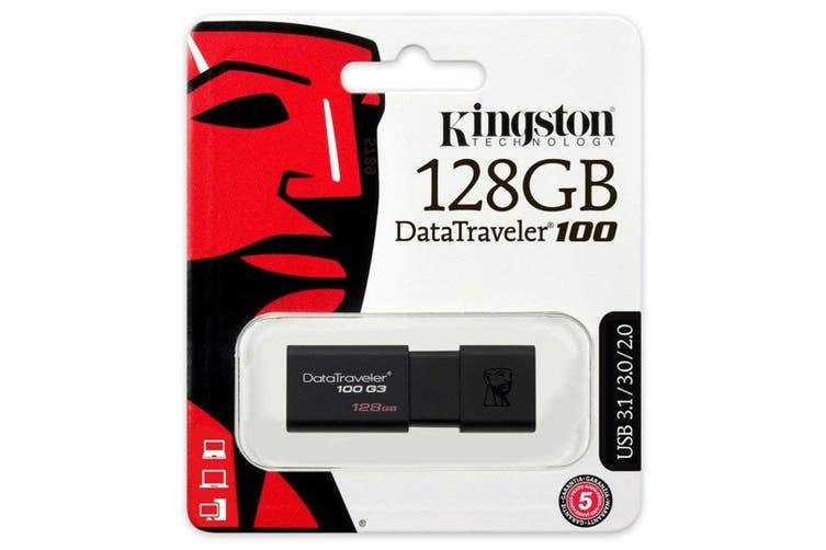 Kingston 128GB Data Traveler USB 3.0 Memory File Storage Stick Flash Drive Black