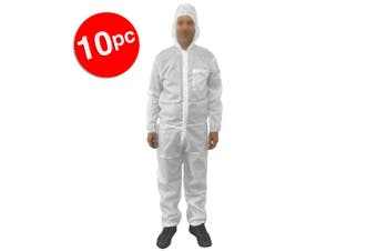 10x Protective Dust/Spray Paint Reusable L Polyester Coverall/Overall Suit White