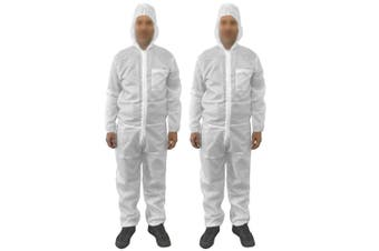 2pc Protective Dust/Spray Paint Reusable S Polyester Coverall/Overall Suit White