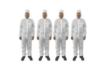 4pc Protective Dust/Spray Paint Reusable S Polyester Coverall/Overall Suit White