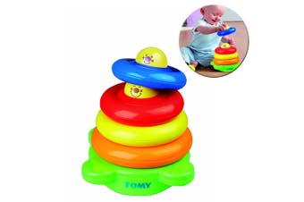 Tomy Baby/Kids Be Happy Ring Stack Educational Stacking Tower w/ Rattle Ball Toy