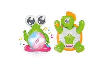 2pc Tomy Toomies Spin & Light Alien/Tickle Time Turtle Activity/Musical Baby Toy