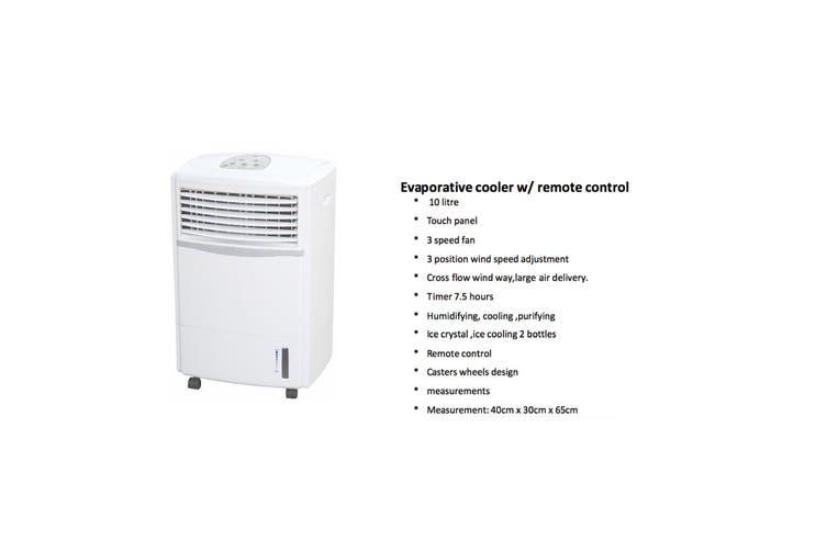 Lenox 10L Portable Evaporative Air Cooler Fan Humidifier Purifier Cooling/Timer