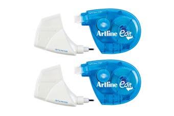 2PK Artline Edit 2-In-1 Correction 5mm Tape/5ml Fluid Pen School Corrector Blue