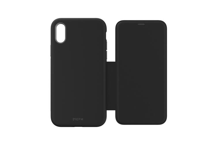 EFM Monaco Leather D3O Wallet Case Phone Cover For Apple iPhone X/Xs Black