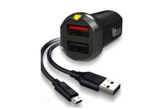 EFM 17W 3.4A Dual Car Rapid Charger/Charge w/ Flipper USB to Micro USB Black