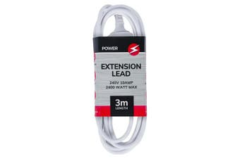 Power 3m Extension Lead/Cord Cable AU/NZ 2400W 240V Home/Office Indoor Plug WHT