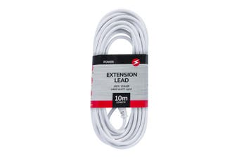 Power 10m Extension Lead/Cord Cable AU/NZ 2400W 240V Home/Office Plug White