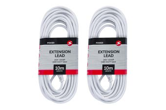 2x Power 10m Extension Lead/Cord Cable AU/NZ 2400W 240V Home/Office Plug White