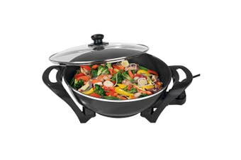 Lenoxx 4.5L 1500W Large Electric Wok/Non-Stick/Stir-fry/Cooking Pan/Cooker Black