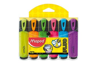 6pc Maped Chisel Highlighter Markers Pen School/Office/Home Assorted Colours