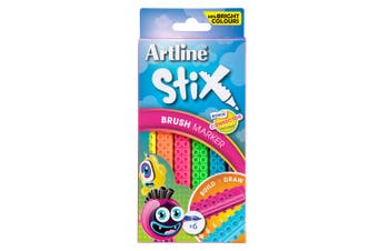 6PK Artline Stix Neon Brush Markers Washable Kids Colouring Pens w/Connectors