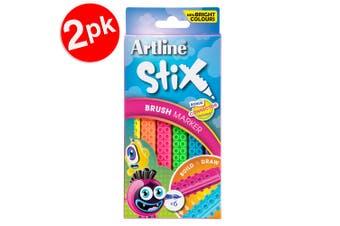 2x 6PK Artline Stix Neon Brush Markers Washable Kids Colouring Pens w/Connectors