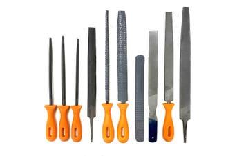 10pc File & Rasp Set Steel Metal Wood Carving Carpentry Tool Set Flat/Half Round