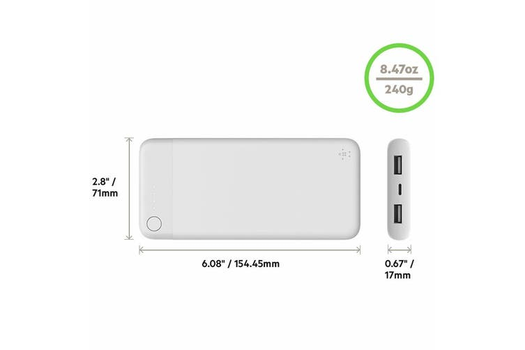 Belkin 10000mAh Power Bank Portable Battery Charger w/ USB/Lightning Cable White