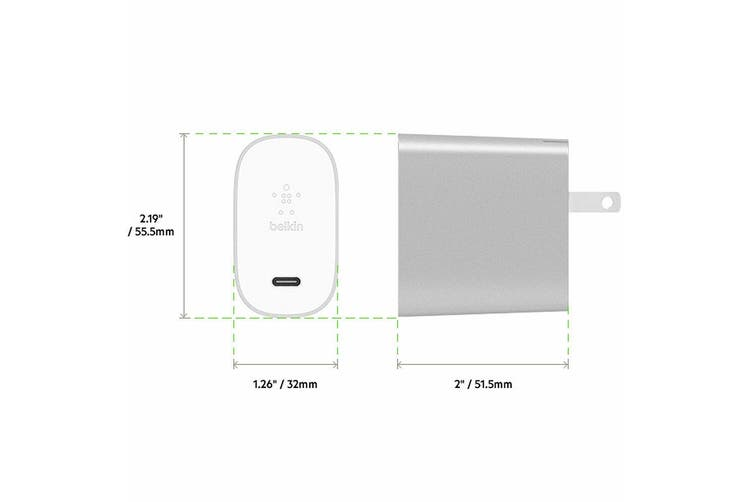 Belkin 27W USB-C Port Home Wall Charger for Google Pixel 2/iPhone 8 X/XS Silver