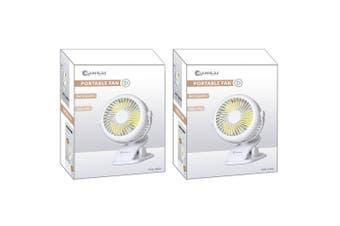 2x Sansai Rechargeable USB 2-in-1 Desk/Clip Mini Desktop/Table Cooling Fan White