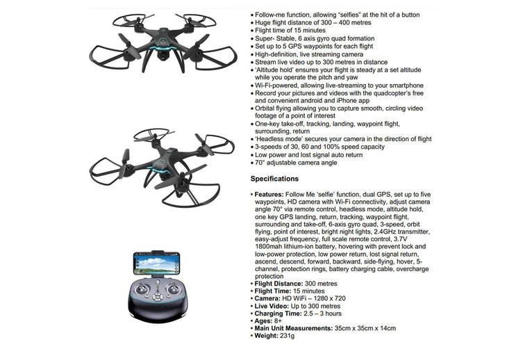 Lenoxx GPS Waypoints Quadcopter Selfie Drone HD Live Video Camera 2.4GHz Black