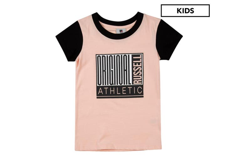 Russell Athletic Girls Block Part T-Shirt Athletic Top Size 8 Tee Tropical Peach