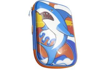 Glitter Critters Carry Me 24 Slots Kids Pencil Case w/Mesh Compartment BLU Shark