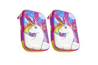2x Glitter Critters Carry Me 24 Slot Pink Pencil Case w/Mesh Compartment Unicorn