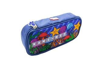 Glitter Critters Name Me 12 Slots Custom Name/Label Kids Pencil Case Blue Ocean