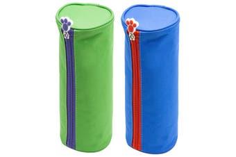 Glitter Critters Roll Me Barrel Case Fabric Pencil Storage Bag Blue & Green
