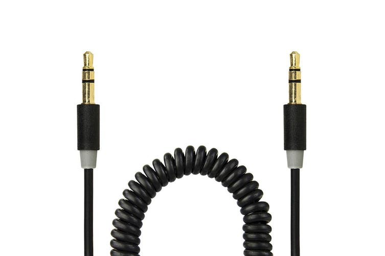 2PK Gecko Coiled 3.5mm Male to M Aux 1.8m Audio Cable Gold Plated Phone Cord BLK