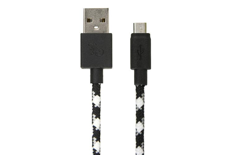 2PK Gecko 1.2m Braided USB to Micro-USB Data Charging Cable For Smartphones BLK