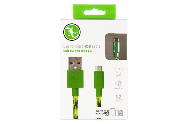 Gecko 1.2m Braided USB to Micro-USB Data Sync Charging Cable For Smartphones GRN
