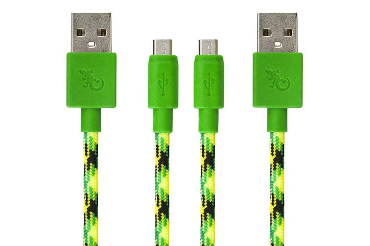 2PK Gecko 1.2m Braided USB to Micro-USB Data Sync Charging Cable For Smartphones