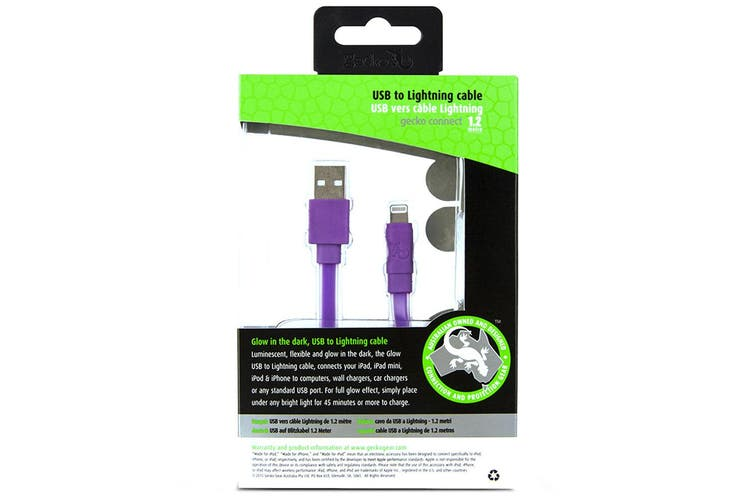 Gecko 1.2m Glow In The Dark MFI Lightning USB Data Cable For iPhone/iPad Purple