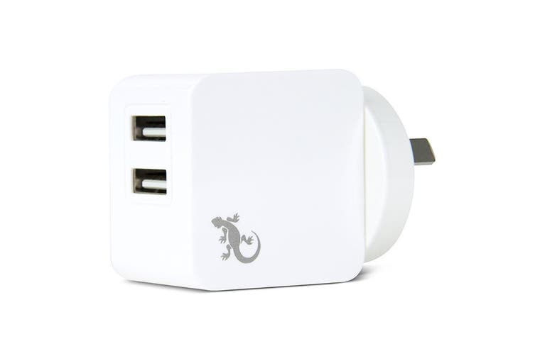 2PK Gecko 3.4A Dual USB Wall Charger for iPhone/Samsung Smartphones/Tablet White