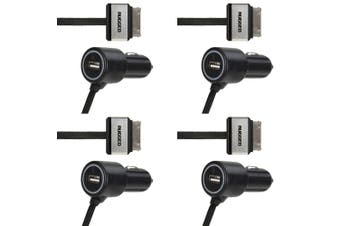 4PK Gecko Rugged 4.5A 30 Pin USB Car Charger f/ Apple iPod/iPhone 3/4/4S/3G BLK