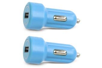 2x Gecko Smart 2.4A USB Car Charger for Smartphones GPS Tablet Dash Camera Blue