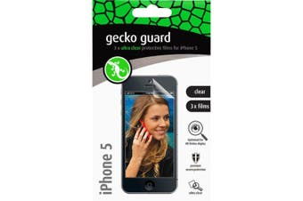 Gecko GG700200 3PK Clear Screen Protector Guard for Apple iPhone 5 5s SE