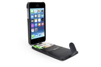 Gecko Flip Wallet Cover Case for Apple/iPhone 5 5S SE w Card/Cash Holder Black