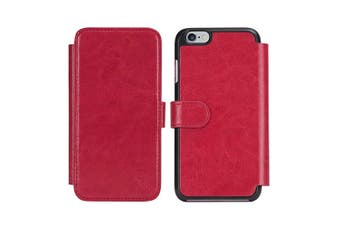 Gecko All-In-One Wallet Case Cover w/ Cash Card Slot For Apple iPhone 6 Plus Red