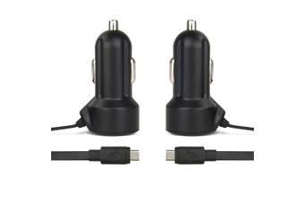 2x Gecko 2.4A Car Charger 1.2m Micro-USB Cable for Android Phones GPS Cam Black