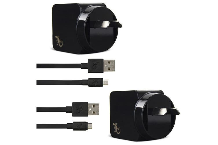 2x Gecko USB 2.4A Wall Charger w/1.5m Micro-USB Cable for Smartphones/Cameras BK