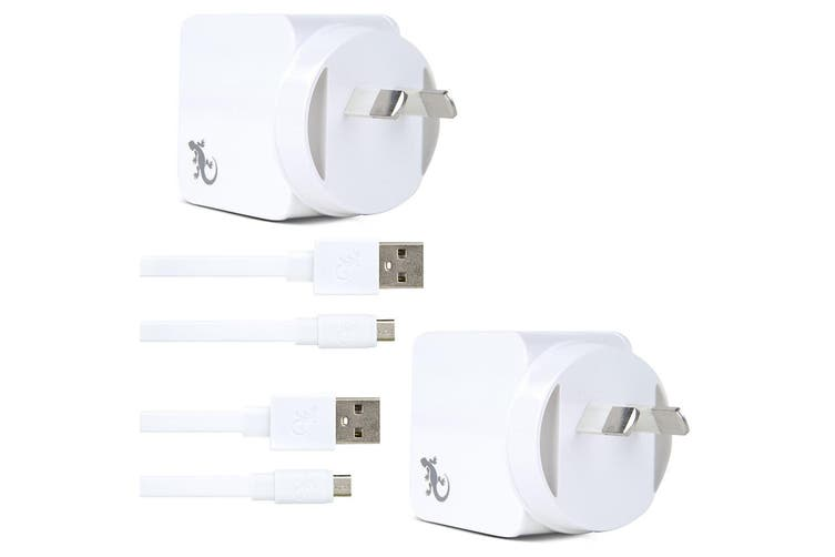 2x Gecko USB 2.4A Wall Charger w/1.5m Micro-USB Cable for Smartphones/Cameras WH
