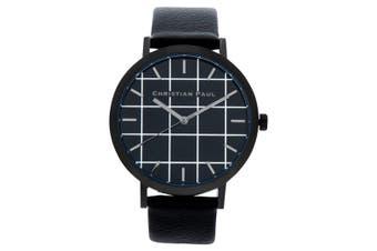 Christian Paul Men's 43mm Strand Grid Wrist Watch w/ Leather Strap Band Black