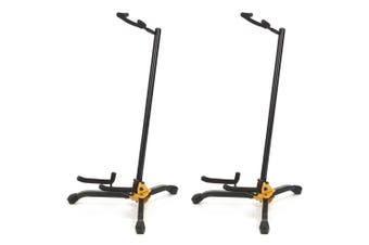 2x Hercules Shoksafe Electric/Bass/Acoustic Guitar Stand/Holder Folding Rack BLK