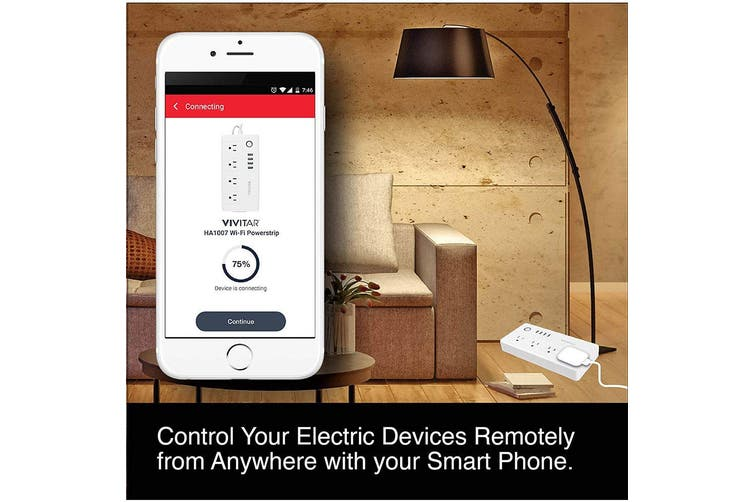 Vivitar Wi-Fi Smart Home Control 4 Way Power Strip Board/4 USB Ports Charger/APP