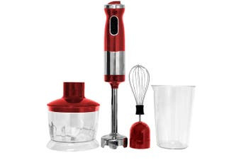 Healthy Choice 700W Electric Hand Stick Blender Food Chopper Mixer Beater Red