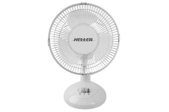 Heller HHDF23S 23cm Desk Fan 2 Speed/Air Cooler/Cooling/Tilt/Oscillating White